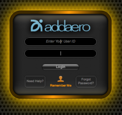 Addaero Login Screen